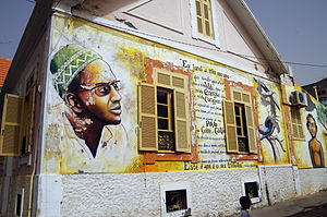 Amílcar Cabral - Mural on the wall of the Amílcar Cabral Foundation offices in Praia, Cape Verde.