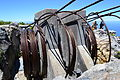 Cables and winding gear behind mountaintop station at Table Mountain Cape Town 002.jpg