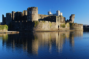 Caerphilly Castle - Caerphilly Castle seen from the west