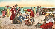 Recreation on a California beach in the first decade of the 20th century.