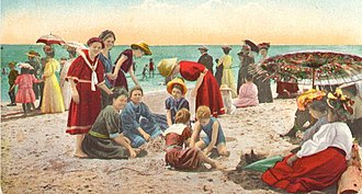 Modesty - Recreation on a California beach in the first decade of the 20th century