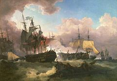 On a stormy sea beneath towering clouds with a central patch of blue sky, at least four sailing warships can be seen within a bank of thick smoke. In the centre a large and lightly damaged ship lies next to a dismasted hulk while in the foreground floats wreckage with men clinging to it.