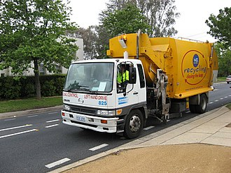 Recycling in Australia - A recycling truck in Canberra, 2007