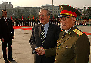Cao Gangchuan - United States Secretary of Defense Donald Rumsfeld meeting with Cao Gangchuan during his first visit to the People's Republic of China
