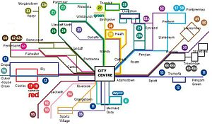 Bus transport in Cardiff - Cardiff Bus' frequent routes network