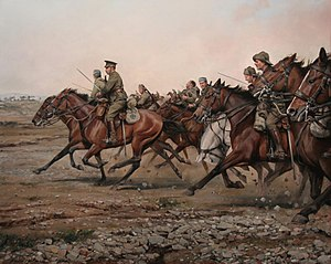Battle of Annual - Charge of the river Igan, painting by Augusto Ferrer-Dalmau (2013).