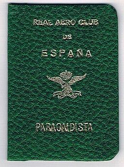 Carnet de Paracaidista Deportivo - Real Aero Club de España