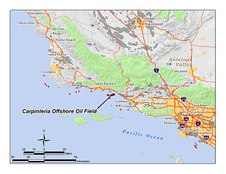 Carpinteria Offshore Oil Field - The Carpinteria Offshore Oil Field in the waters off of southern California.  Other oil fields are shown in dark gray.  Small red squares mark the locations of drilling platforms.