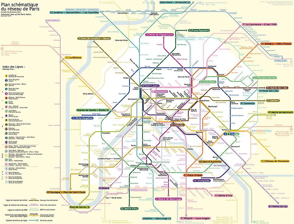 Carte Métro de Paris