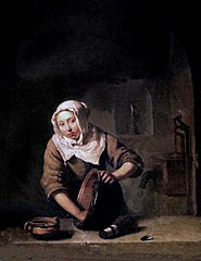 A Young Woman scouring a Copper Pot