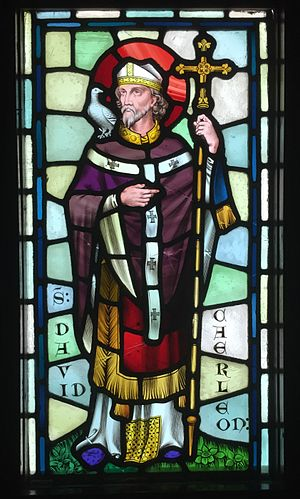 Saint David's Day - Stained glass depiction of Saint David, designed by William Burges, at Castell Coch, Cardiff
