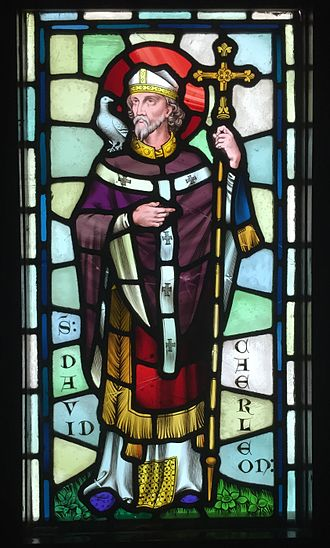 Saint David - Stained glass depiction of Saint David, designed by William Burges, at Castell Coch, Cardiff