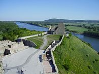 Castle Devin - walls and river.JPG