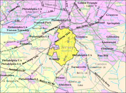 Census Bureau map of Deptford Township, New Jersey