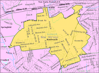 Kenilworth, New Jersey - Image: Census Bureau map of Kenilworth, New Jersey