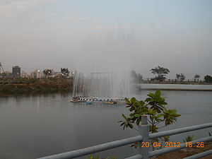 Central Park, Kharghar - Fountain in Artificial Pond in Central Park