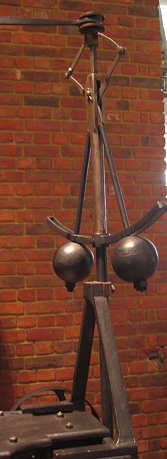 Automation - A flyball governor is an early example of a feedback control system.  An increase in speed would make the counterweights move outward, sliding a linkage that tended to close the valve supplying steam, and so slowing the engine.