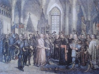 Election in Cetin - Croatian high nobility members (right) and the plenipotentiaries of Ferdinand I Habsburg (left) at the Parliament on Cetin