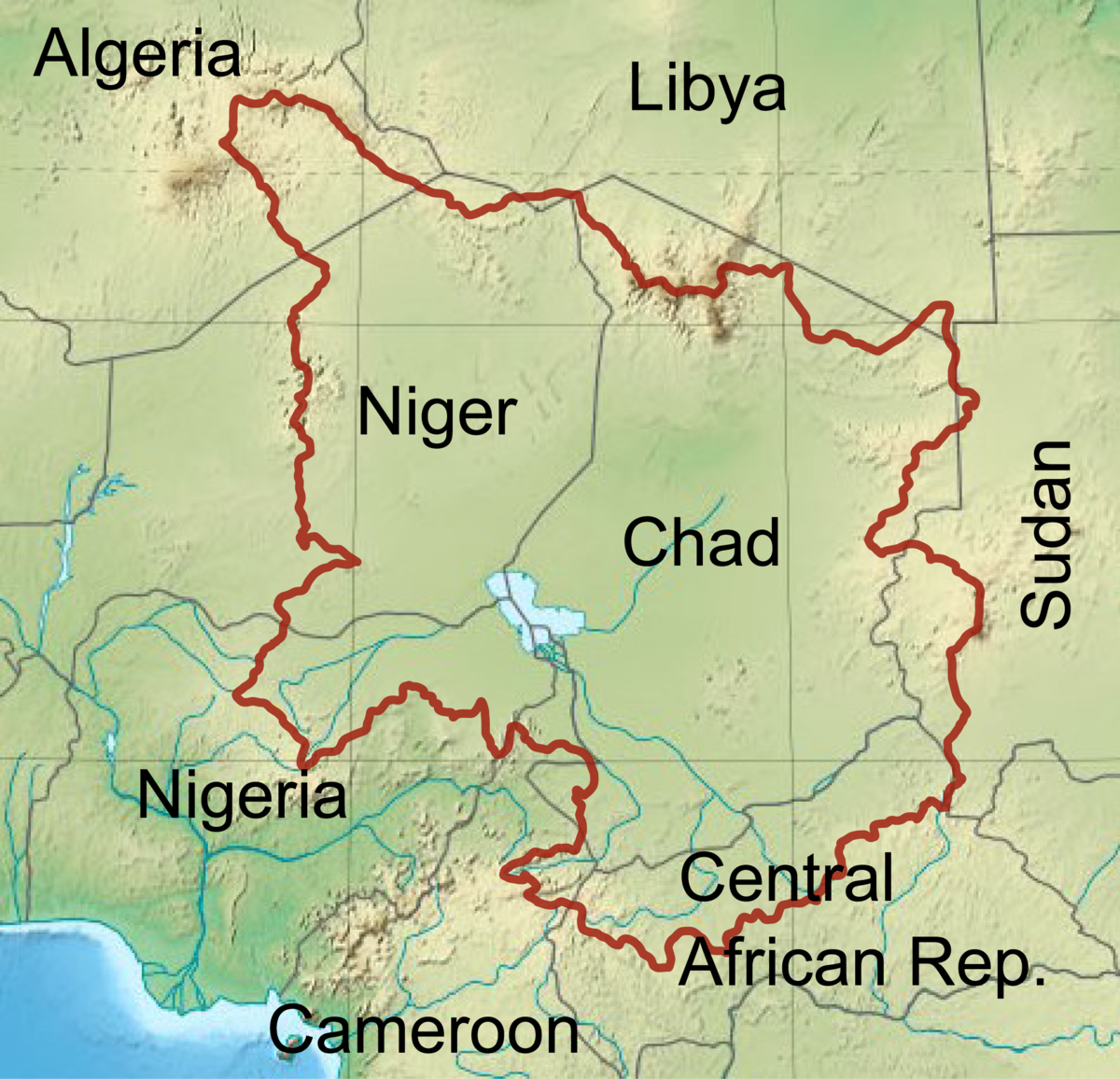 Lake Chad Map Chad Basin   Wikipedia