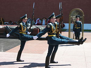 Goose step - Russian Kremlin Guards goose-stepping at slow march near the Tomb of the Unknown Soldier, Moscow.