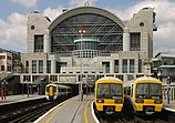 An image of Charing Cross Station with Southeastern trains at the platform.