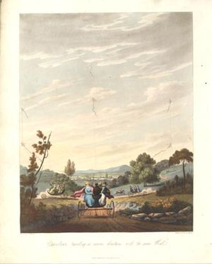 George Pocock (inventor) - Charvolants travelling in various directions with the same Wind (1827), a romanticised view of mass transportation by Charvolant.