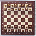 Chess board with chess set in opening position IMG 5994.JPG