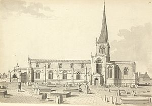 Chesterfield - 'The church in the 18th century as sketched by Samuel Hieronymus Grimm.'
