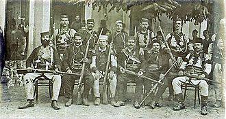 Vasilije Trbić - Trbić (in white clothing) with fellow Chetnik commanders, 1908.