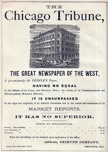 An 1870 advertisement for Chicago Tribune subscriptions Chicago Tribune Advertisement 1870.jpg