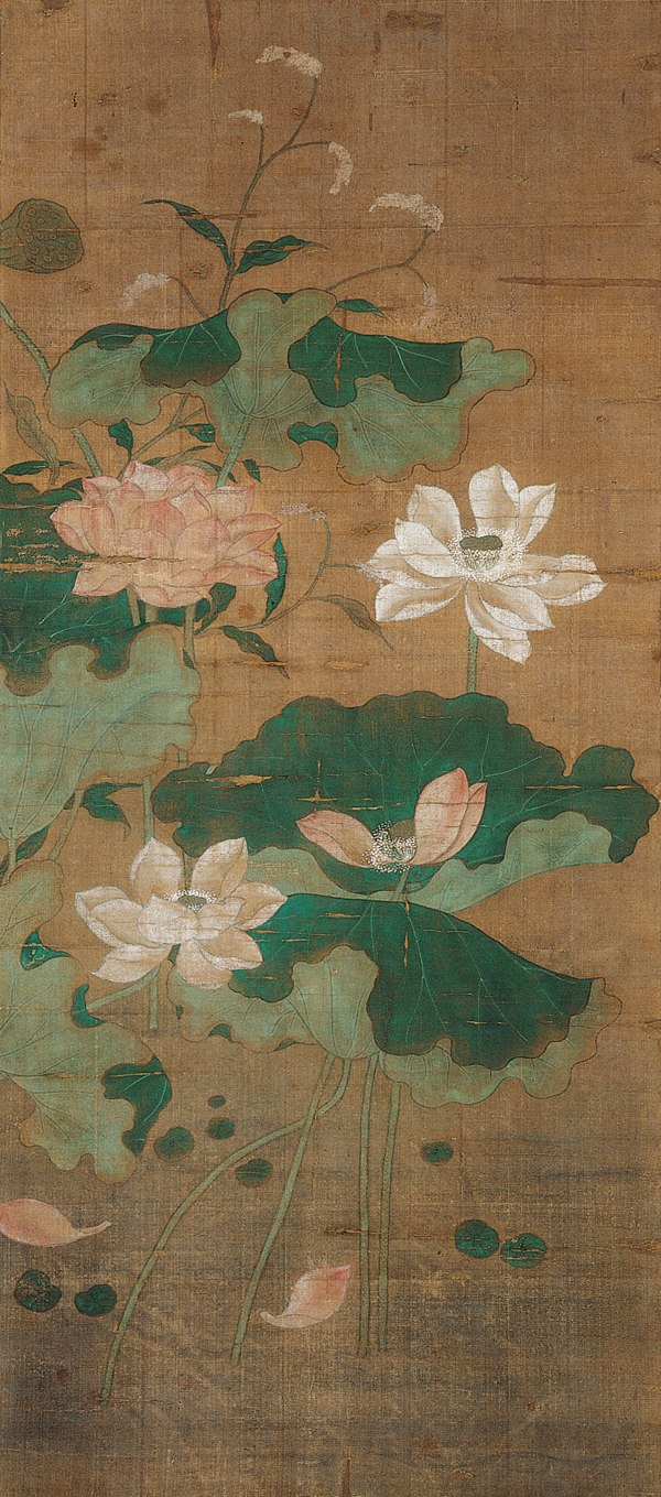 Chinese, 'Pink and White Lotus', 14th century China, Yuan dynasty (1279–1368), Hanging scroll; mineral pigments on silk, Kimbell Art Museum