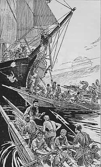 North Star affair - Chinese pirates attacking a merchant ship.