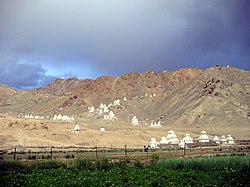 Ladakh landscape is full of chörtens.