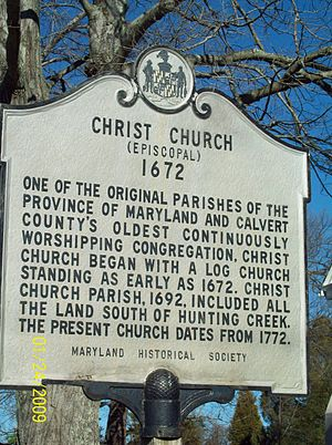 Christ Church (Port Republic, Maryland) - Image: Christ Church Plaque Dec 08