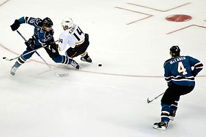 2007–08 San Jose Sharks season - Christian Ehrhoff and Chris Kunitz during a pre-season game.