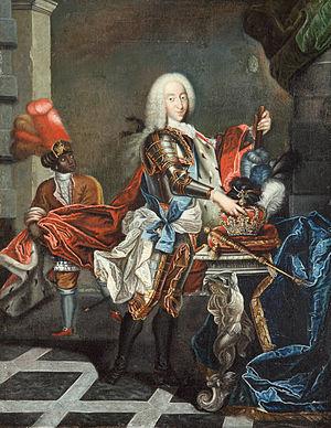 Christian VI of Denmark - Christian VI placing his hand on the crown, accompanied by a Moorish servant.