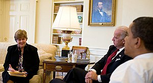 Christina Romer - Romer meeting with President Obama and Vice President Biden.