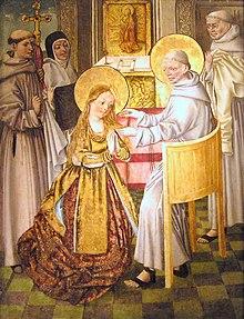 São Francisco cortando os cabelos de Santa Clara em sua ordenação