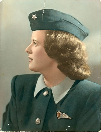 Australian National Airways - Clare McHugh Douglas, upon completion of her training as an air hostess for ANA, ca. 1947