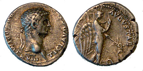 Claudius issued this denarius type to emphasize his clemency after Caligula's assassination. The depiction of the goddess Pax-Nemesis, representing subdued vengeance, would be used on the coins of many later emperors. Claudiuspax.jpg