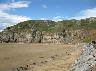 Brean Down - The cliffs on the south side showing fractures in the limestone.
