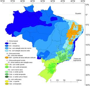 35c741bf1c Mapa do Brasil de acordo com a classificação climática de Köppen.