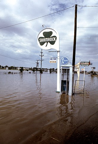 Clovis, New Mexico - Flooding caused by a thunderstorm, downtown Clovis (1980)
