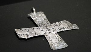 Abracadabra - A silver talisman from the 6th or 7th century, inscribed with words similar to abracadabra