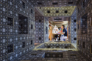 Menger sponge - A model of a tetrix viewed through the centre of the Cambridge Level-3 MegaMenger at the 2015 Cambridge Science Festival