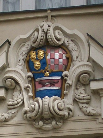 Croatian Parliament - Coat of arms of the Kingdom of Croatia, Slavonia and Dalmatia on the Croatian Parliament building