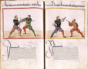 German school of fencing - page of Mscr. Dresd. C 93 by Paulus Hector Mair (1540s)