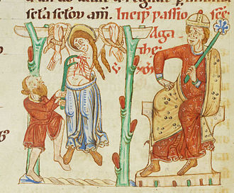 Sicilia (Roman province) - The martyrdom of Saint Agatha (Cod. Bodmer 127, fol. 39v, end of the 12th century)