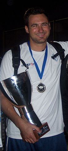 Cody Cillo with European Cup at Baseball Final Four 2010 Barcelona.JPG