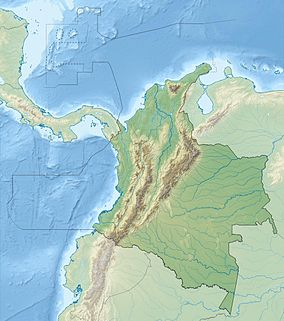 Map showing the location of Parque Nacional Natural El Tuparro